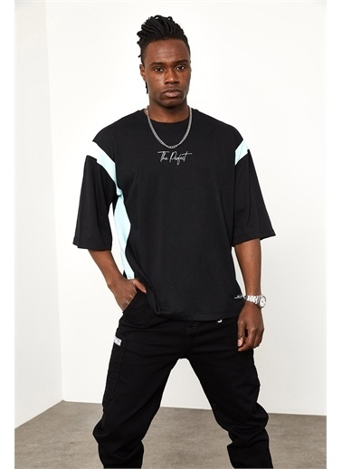 XHAN Ekru Şerit Detaylı Oversize T-shirt  Siyah